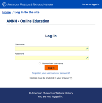 login page for AMNH Moodle online courses