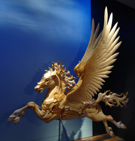 Carved Pegasus in the exhibition, on loan from Betty Jean Conant