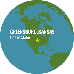 Location of Greensburg, Kansas on a globe.