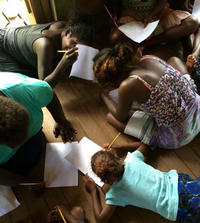 A group of workshop participants drawing art in a scenario planning and visioning workshop.