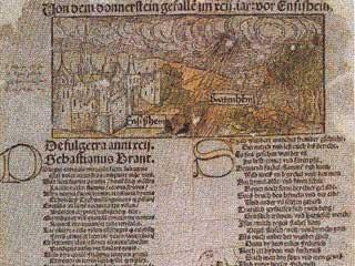 Contemporary broadsheet depicting the fall of a meteorite at Ensisheim in Alsace on November 7, 1492, with verses by Sebastian Brant. Chladni cited this event. Photo courtesy of Universitatsbibliothek, Basel.