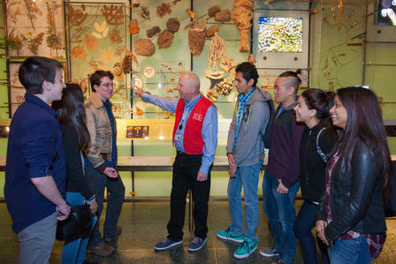 A group of students and a teaching volunteer explore the Spectrum of Life display in the Hall of Biodiversity.