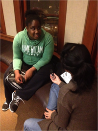 Danielle and Maria practicing oral history recording at the workshop in NYC, October 2013