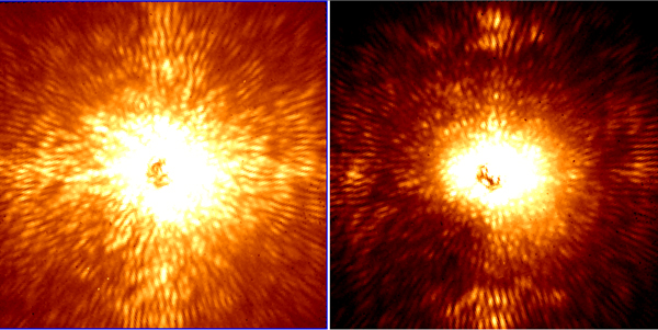 Two images of HD 157728, a nearby star 1.5 times larger than the Sun. The star is centered in both images, and its light has been mostly removed by the adaptive optics system and coronagraph. The remaining starlight leaves a speckled background against which fainter objects cannot be seen. On the left, the image was made without the ultra-precise starlight control that Project 1640 is capable of. On the right, the wavefront sensor was active, and a darker square hole formed in the residual starlight, allowing objects up to 10 million times fainter than the star to be seen. Images were taken on June 14, 2012, with Project 1640 on the Palomar Observatory's 200-inch Hale telescope. Photo courtesy of Project 1640