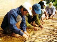 Weaving the roof of a grave house, Gia Lai Province, 1998. Vietnam Museum of Ethnology