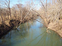 A medium-narrow river with still looking water. Both side of bank have brown leafless trees.