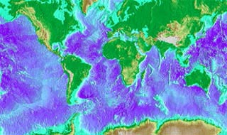 Map of world, with different colors indicating ocean temperatures