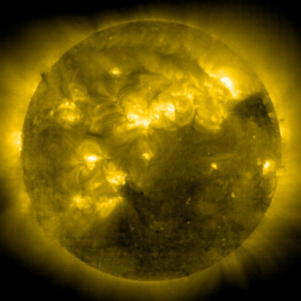 In the Light of IronThe Sun observed from space in the light of ionized iron (Fe XIV) at 2.2 million °C(4 million °F).