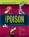 Cover of the educator's guide to the exhibition The Power of Poison, including images of a snake, passionflower, drops of mercury, and witches at a cauldron