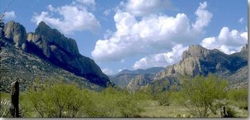 A wide view of the entrance to Cave Creek Canyon in Portal, Arizona.