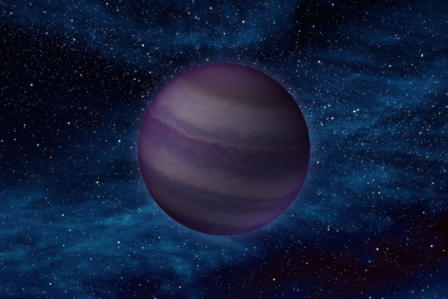 An illustration of a purple planet-like object in a dark star field