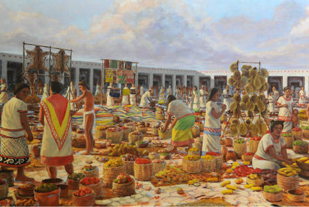 Painting of native people at an outdoor market with produce in baskets, animal skins on wooden pole frames, and other wares on frames.