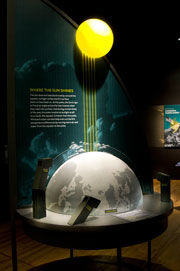 A Climate Change exhibit demonstrates the uneven heating of the earth. Denis Finnin/AMNH