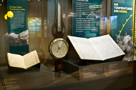 Weather journal, barometer, and weather log featured in the Climate Changeexhibition. Denis Finnin/AMNH