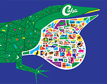 Illustration of an anole lizard with an aerial map of cuba on its body and iconic cuban words and photos on its dewlap.