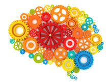 Plastic gears of various sizes, shapes, and colors form the shape of a human brain.
