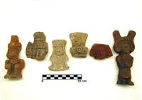 Six Aztec ceramic human figurines found in Chiconautla, Mexico, each smaller than 10 cm wide.