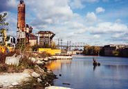 The concrete plant on the Bronx River, before restoration.Courtesy Eric Sanderson