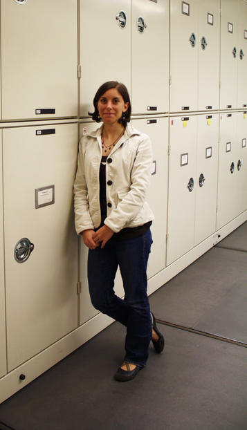 Ph.D. candidate Eugenia Gold, pictured here in the Museum's collections. © AMNH/E. Gold