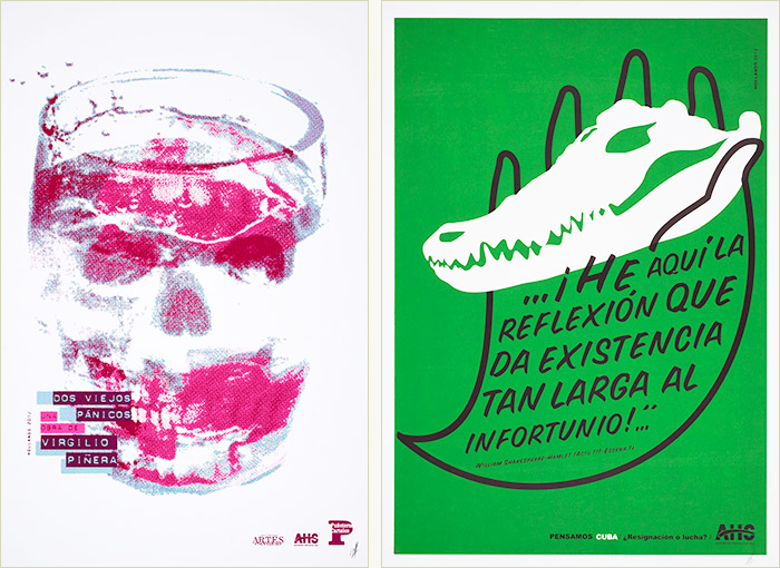 Skull in a drinking glass (left); cuban crocodile skull held in the outline of a hand (right).