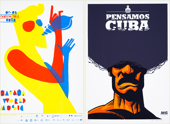 Man playing a horn type of instrument shaped like a shell (left);  man with afro hairstyle containing a hair pick and the words Pensamos Cuba (right).
