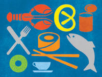 Colorful graphic array of food symbols, including lobster, pretzel, tin can, knife and fork, sushi roll and chopsticks, whole fish, cup and saucer, and bagel