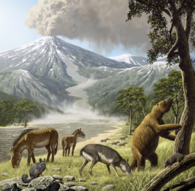 Scientists discovered extremely well-preserved mammal fossils in the Andes Mountains of Chile thanks to volcanic debris that encased animals without incinerating them.  © Raúl Martin