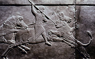 Ashurbanipal spearing a lion. Assyrian stone carving from Nineveh, c645 B.C. The Granger Collection, New York