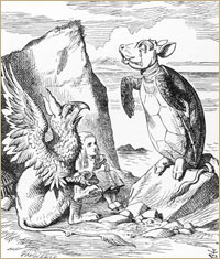 Alice with the Mock Turtle and the Gryphon. Illustration by John Tenniel in 'Alice's Adventures in Wonderland,' 1932 edition. © Mary Evans Picture Library