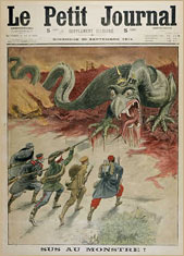 Trotsky slaying the dragon of counterrevolution. Cartoon probably by Damblans in Le Petit Journal 20 September, 1914. © Mary Evans Picture Library
