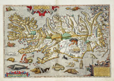 Map of Iceland: Several sea monsters cavort in the waters off Iceland in this 1585 map drawn by Andreas Velleius. © Courtesy Strachan and Vivian Donnelley