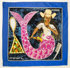 Lasirn Vodou sequined flags: The mermaid Lasirn is a water spirit popular in the Caribbean Islands and parts of the Americas. © AMNH / D. Finnin