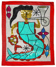 "Lasirn Vodou sequined flags: The name Lasirn comes from the French word sirne, meaning ""siren"" or ""mermaid."" © AMNH / D. Finnin"