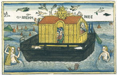 Nuremberg Bible (1483) illustration shows a mermaid, merman and mer-dog swimming near Noah's Ark. © Victoria & Albert Museum, London/Art Resource