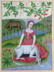 Woman and Unicorn; illustration (vellum) by Robinet Testard (fl.1470-1523) from the 'Book of Simple Medicines' c.1470 Credit: National Library, St. Petersburg, Russia/The Bridgeman Art Library