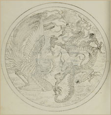 Dragon and phoenix illustration from Chinese book, rare book collection D. Finnin/American Museum of Natural History Library
