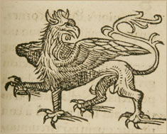 Griffin illustration from Lykosthenes, rare book collection, c. 1557 American Museum of Natural History Library
