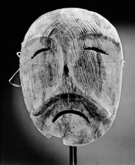 Seal Mask: This mask carved from weathered driftwood represents a seal, one of the animals created by Sedna that provides food for the Inuit AMNH Special Collections; mask from the collection of the Cranbrook Institute of Science