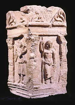 Decorated incense altar Limestone Khirbet et-Tannur, Jordan1st century ADObtained largely for trade, incense also had a place in Nabataean ritual. Laboratory analysis has shown that this Nabataean shrine contains residue of frankincense, a tree resin burned during worship. This altar was perhaps used to honor the storm god Qaws, depicted with Winged Victories on the altar's sides. An inscription refers to a person called [Alexa]ndros Amrou, a mixture of Greek and Nabataean names, revealing an intermingling of the two cultures in Petra.Khirbet et-Tannur Excavations, 1937, Department of Antiquities, Amman, Jordan and the American School of Oriental Research, Jerusalem, Israel Photo: © Cincinnati Art Museum; Photographer: Peter John Gates FBIPP, ARPS, Ashwell, UK