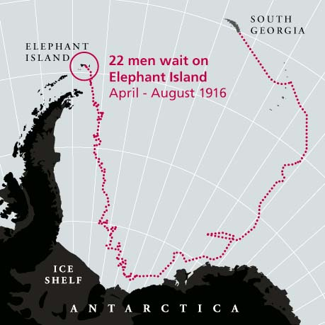 Map showing sea route from South Georgia to Elephant Island where 22 men from the sunken ship Endurance awaited rescue from April to August 1916.