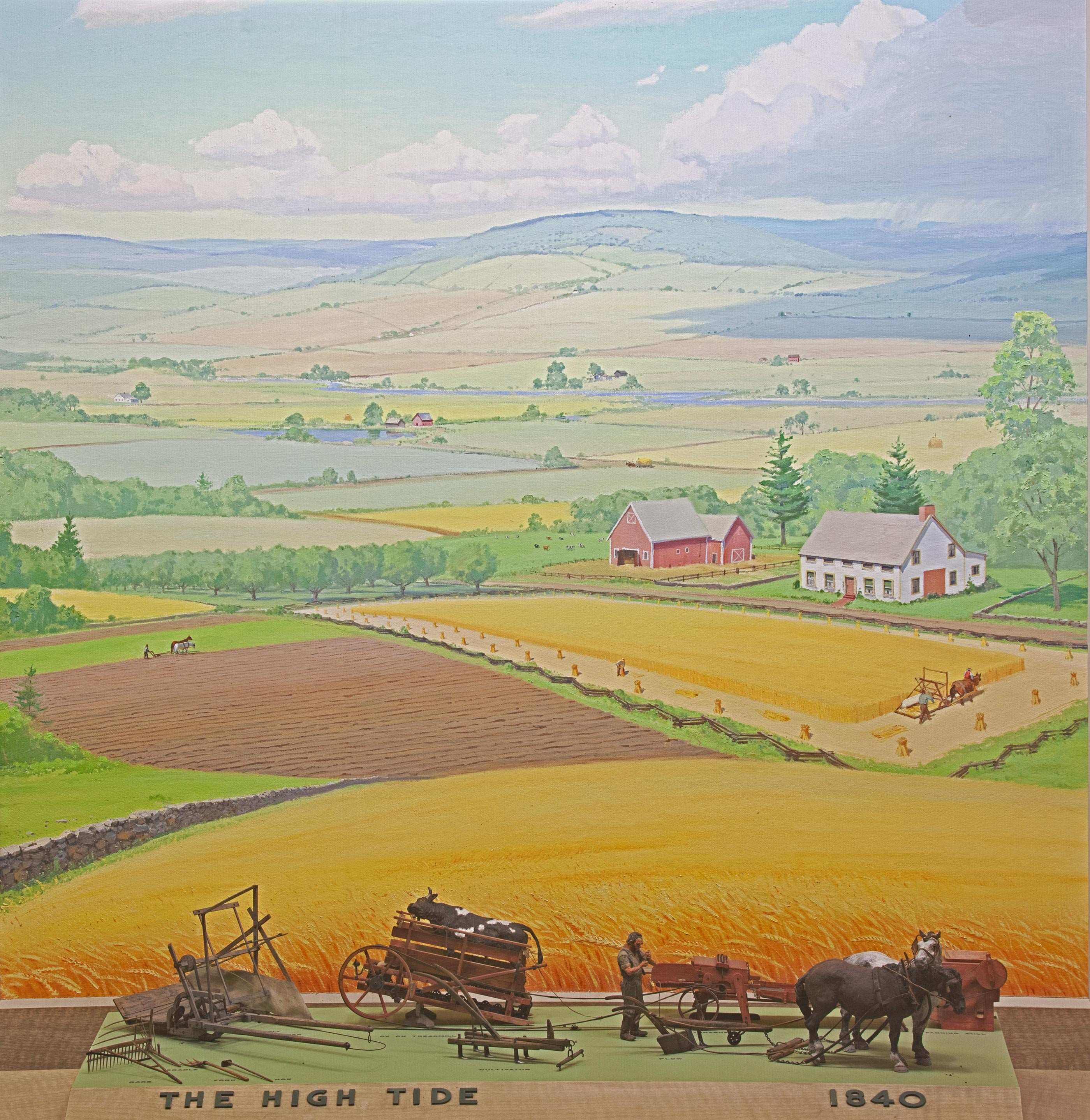 Scale models of farming tools from 1840 with background painting of a  landscape with a farm.