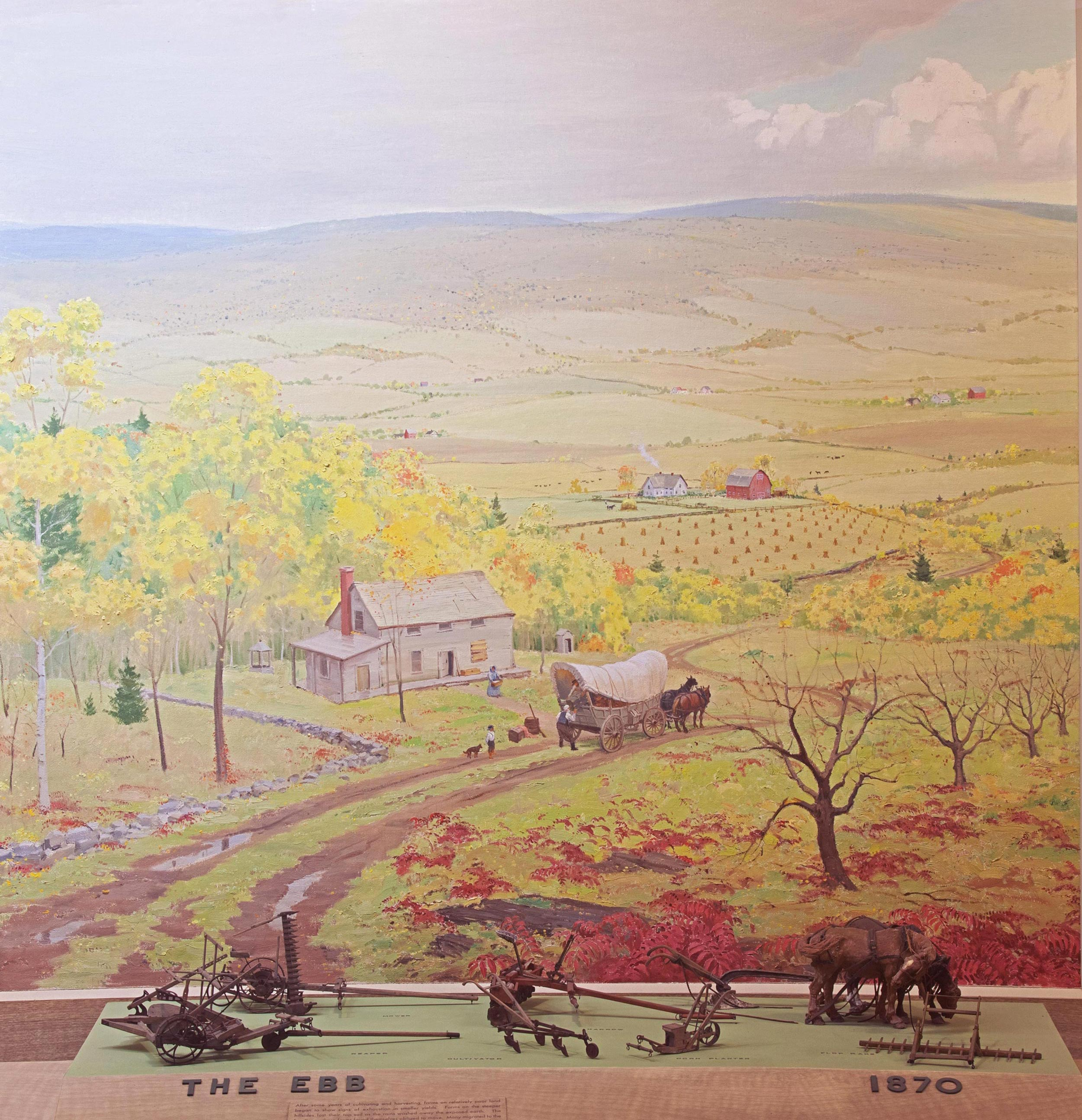 Scale models of farming tools from 1870 with background painting of a landscape with a farm.