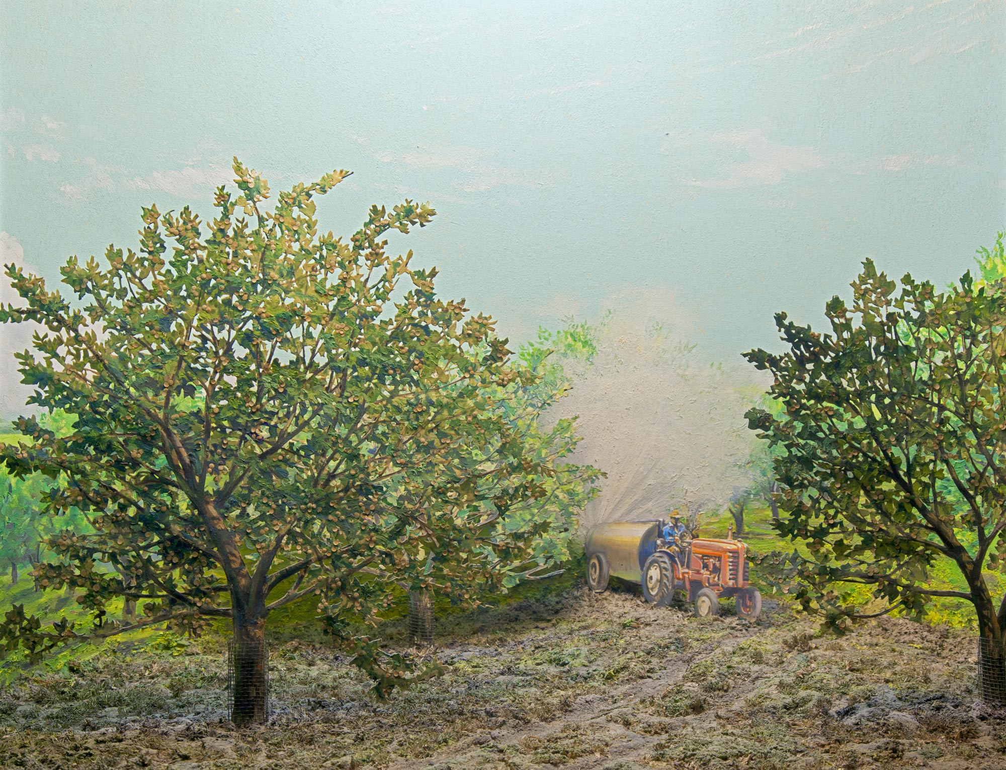 Diorama showing a tractor spraying an apple orchard.