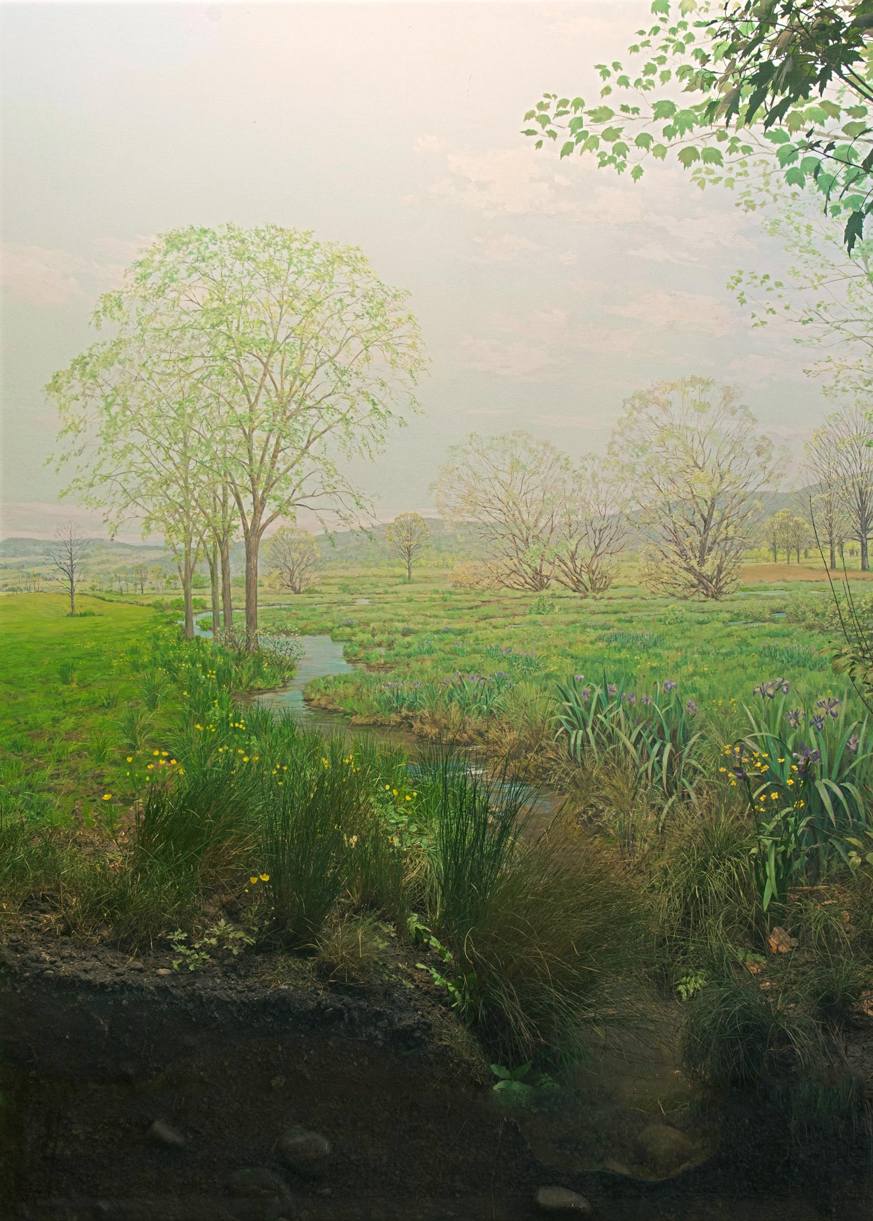 Diorama of a field with vegetation and a stream of water