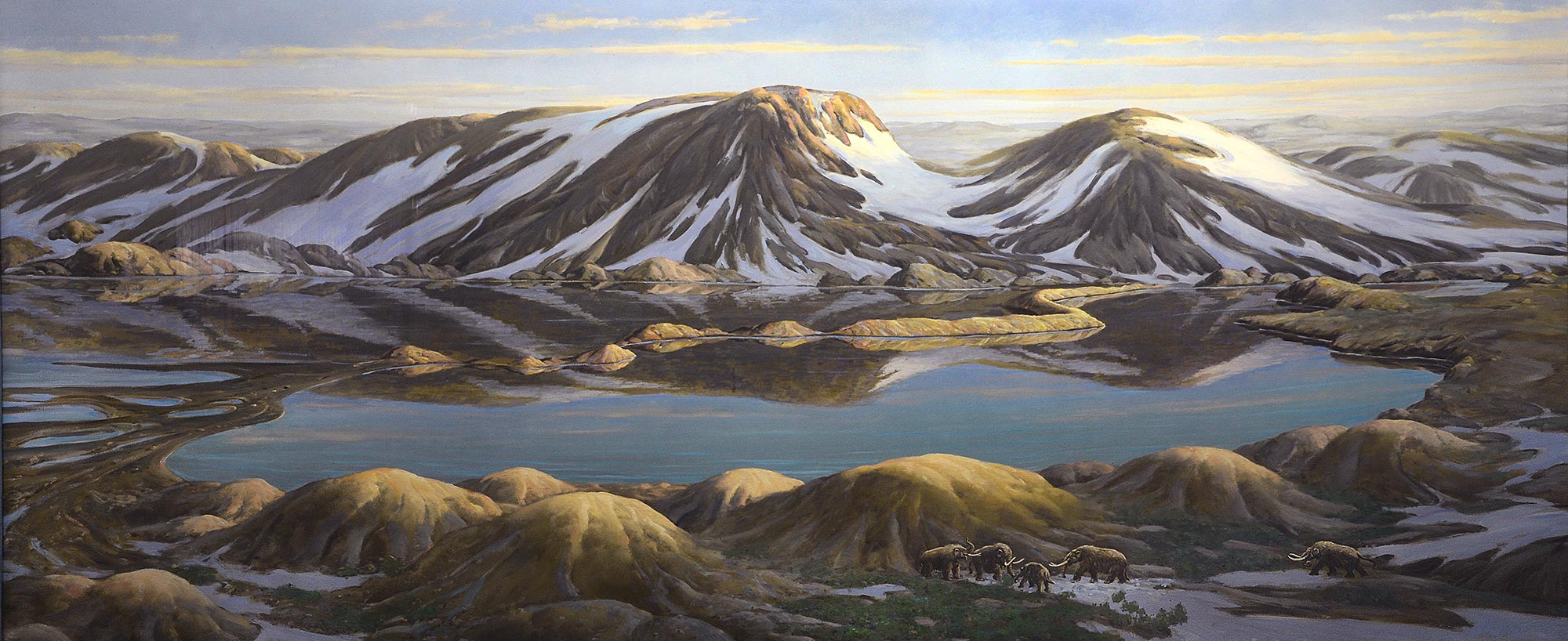 Painting of snowed mountains with lakes and a group of mammuts
