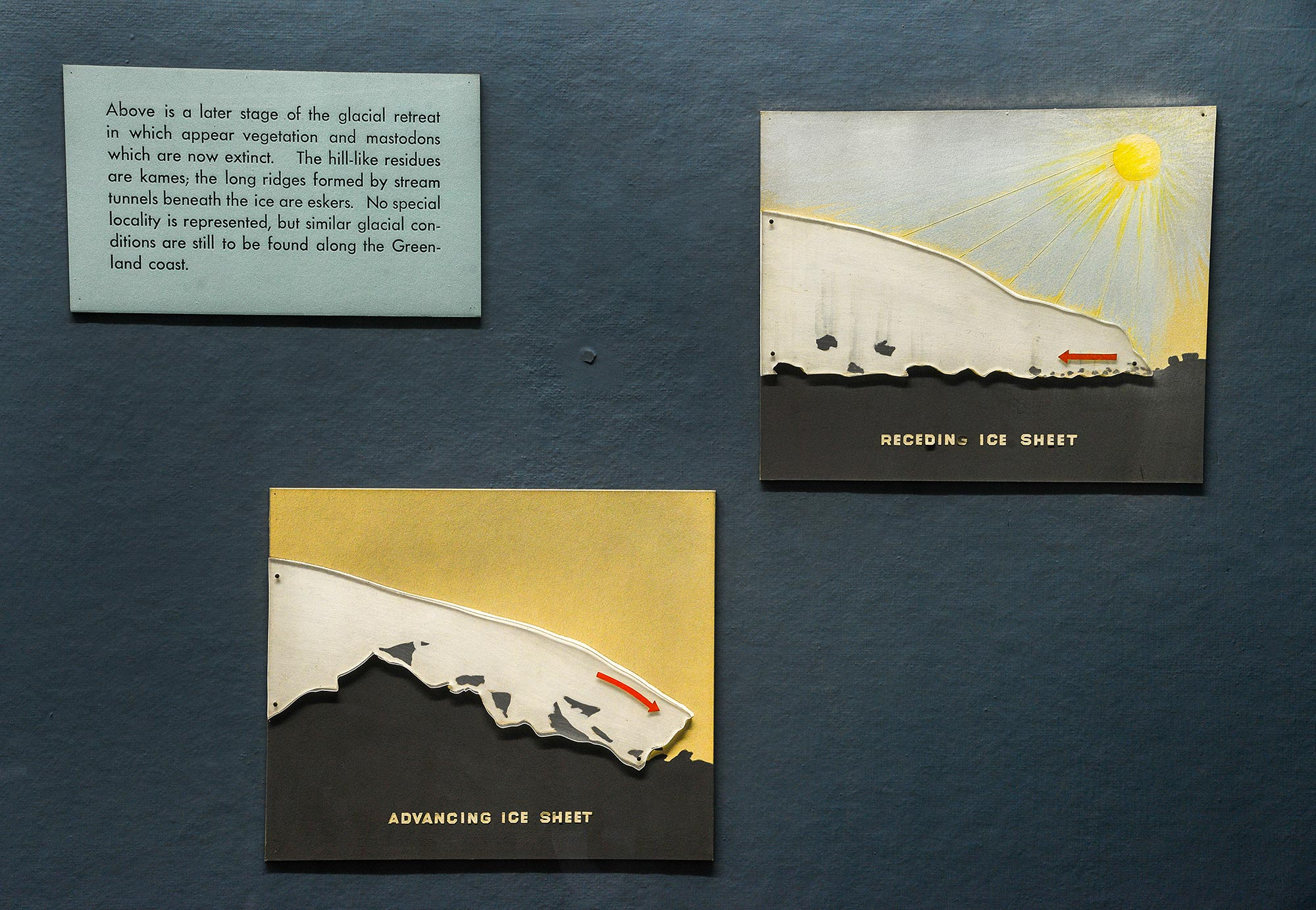 Text and illustrations explaining receding ice sheet