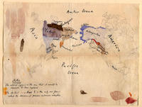A handwritten and colored map depicts the northwest coast of North America and the eastern coast of Siberia, as well as  the surrounding oceans.