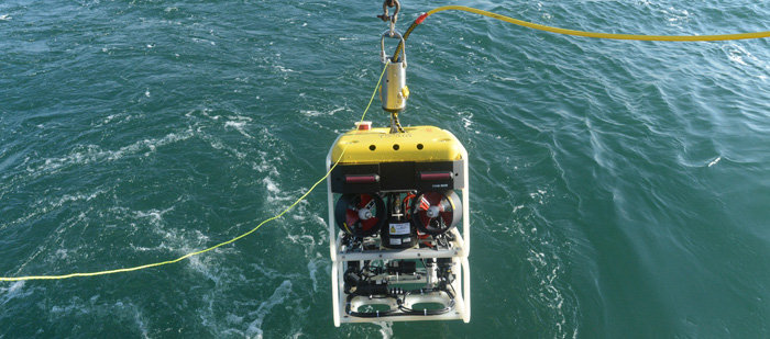 DeepReef-ROV holds a suite of high-definition video cameras customized for underwater low-light conditions. Courtesy of D. Gruber