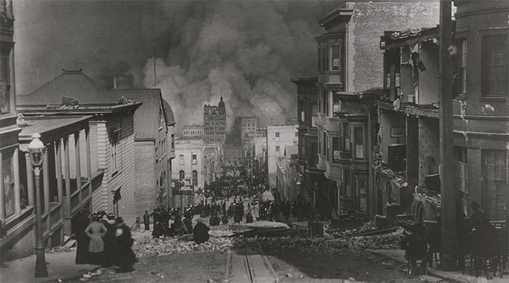 Aftermath of the San Francisco earthquake on April 18, 1906. © Library of Congress