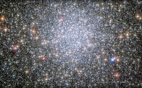 Telescope view of 47 Tucanae, a globular star cluster of at lease two million stars and 11 billion years old.
